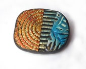 teal blue gold copper, textured unique BROOCH, polymer clay, one of a kind