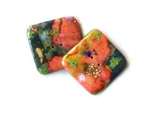 "Tangerine-pink-green 1""1/4 square Buttons - Set of 2 - handmade polymer clay, boutons artisanaux"