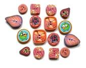 FUN set of 16 buttons - ladybug, bird, leaf - handmade polymer clay