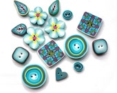 handmade buttons Flower Leaf spriral kaleidoscope TURQUOISE - Set of 15 - turquoise yellow green brown pink - polymer clay
