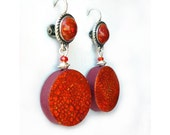 Terracotta polymer clay Earrings, red orange  - crackled metal leaf - handmade polymer clay - cabochon leverback ear wires