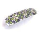"""Hair Barrette French clip 4""""  GREEN VIOLET off-White Grey geometric pattern - polymer clay"""