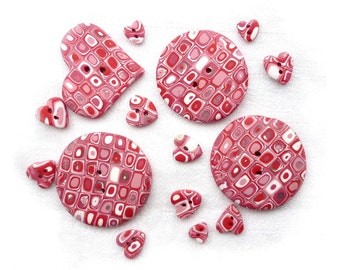 PINK polymer clay round and hearts buttons - set of 15 - Christmas red pink white - handmade polymer clay - Wedding - Valentine