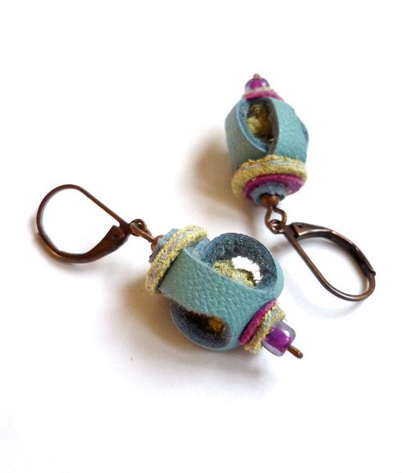 Pastel blue LEATHER earrings . blue green purple, original lantern shape