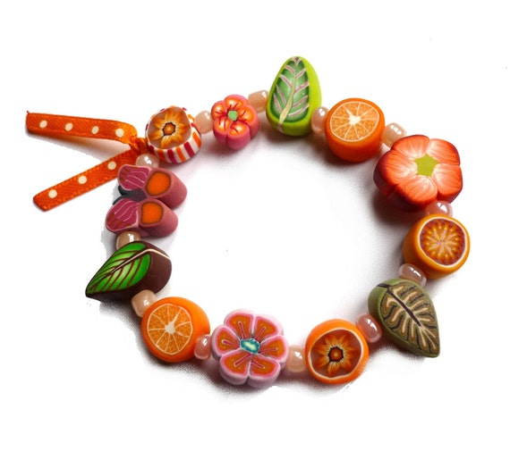 Girls Stretch Bracelet, children jewelry, multicolored polymer clay, Medium, orange green, child