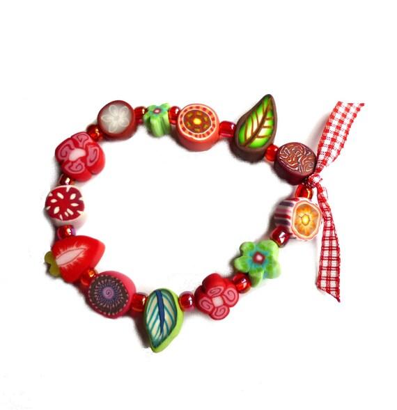 Girls Stretch Bracelet, children jewelry, multicolored polymer clay, Medium, red green strawberry, child