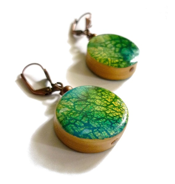 Depth effect Earrings, blue green turquoise gold - crackled metal leaf - polymer clay
