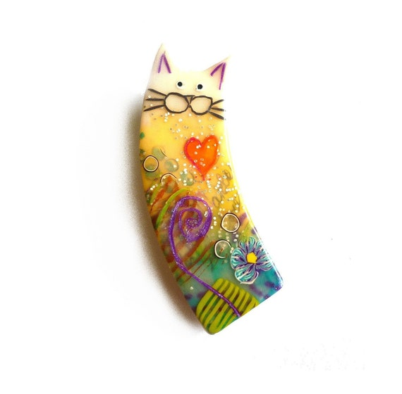 Cat brooch NESTOR- Unique Art Brooch - polymer clay kitty, purple, yellow, green, white, blue, red heart, chat