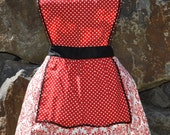 Polka Dots and Red Damask Retro Inspired Hostess Apron Ready to Ship