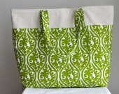 Extra Large Lime Green Damask Print Tote Bag - Shoulder bag, two handle Bag- Ready to ship today
