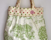 MOTHERS Day SALE-Large Tote Shoulder Bag Green Toile and Polka Dot Perfect Beach or Diaper Bag- Ready to Ship-  SALE