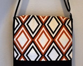 Sweet Potato and Brown Diamond Crossbody Messenger Bag with pockets  Ready to SHIP Now SALE