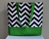 SALE Large Nautical tote Beach Bag Blue Zig Zag Chevron and Bright Green- Ready to Ship Immediately Mother's Day Sale