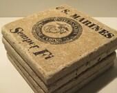 Marine Corps Tile Coasters