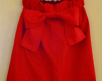 Red Cotton Bow Skirt CUSTOM XS S M L XL