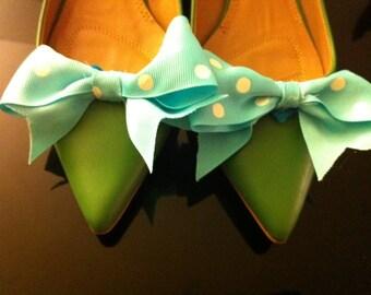 Aqua Blue Polka Dot Shoe Bow Clips Pair