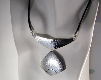 Handmade Hammered Necklace SHIPS IMMEDIATELY Handmade Handcut Hammered Nickel Silver Necklace