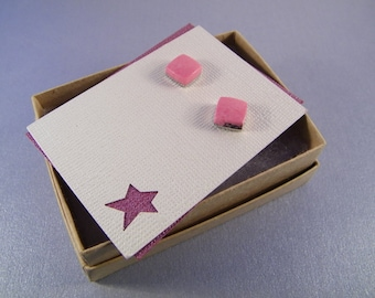 Square Pink Posts SHIPS IMMEDIATELY Handmade Composite Pink Rhodonite Post Earrings