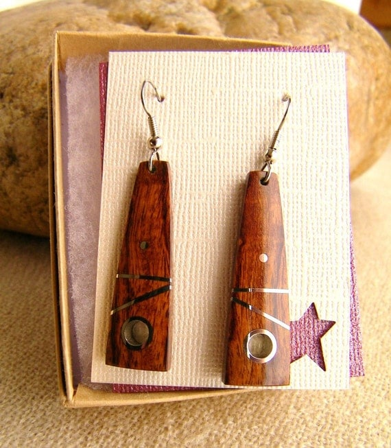 Wooden Earrings - Inlaid Desert Ironwood Earrings - Handmade Wood Earrings - Gifts Under 40 - Ready to Ship