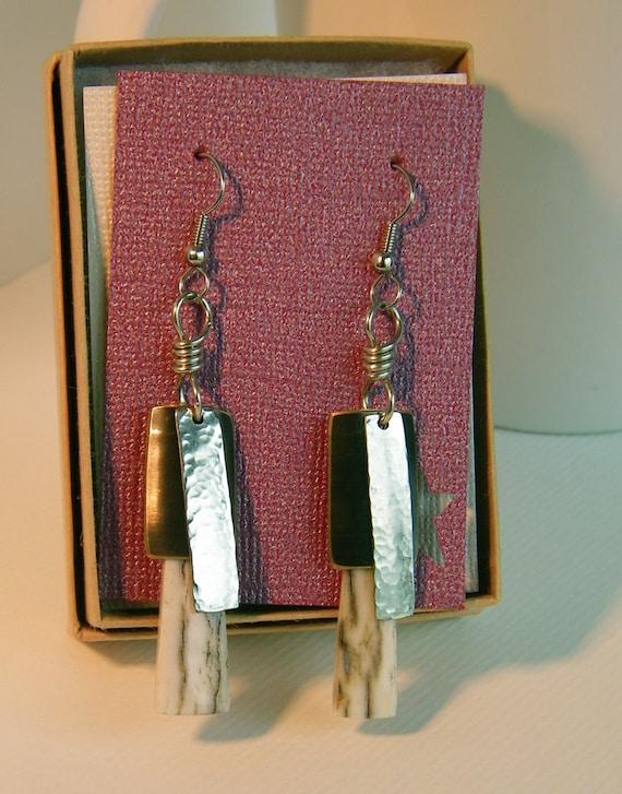 Antler Earrings - Western Elk Antler Pendant Earrings - Antler Jewelry - Gifts Under 25 - Ready to Ship