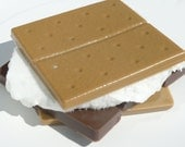 S'more Soap w/Marshmallow Scrub - Chocolate/Marshmallow Scent - vegan camping bath guest outdoor decorative
