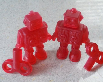 Robot Vegan Soap - Set of 2 Robots/2 Keys - You Pick ONE Scent - guest bath decorative red