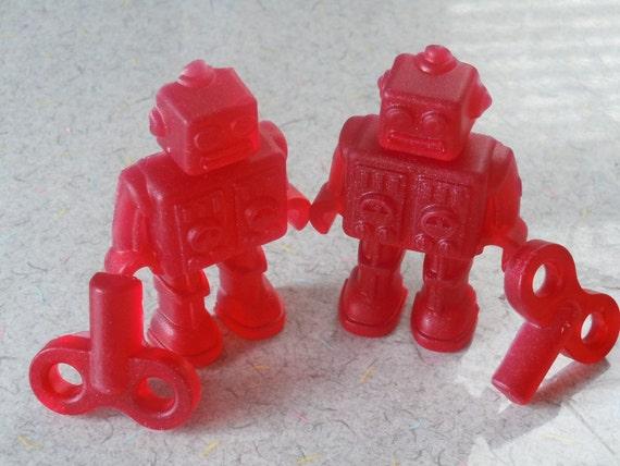 Robot Vegan Soap - Set of 2 Robots/2 Keys - You Pick ONE Scent - guest bath decorative red