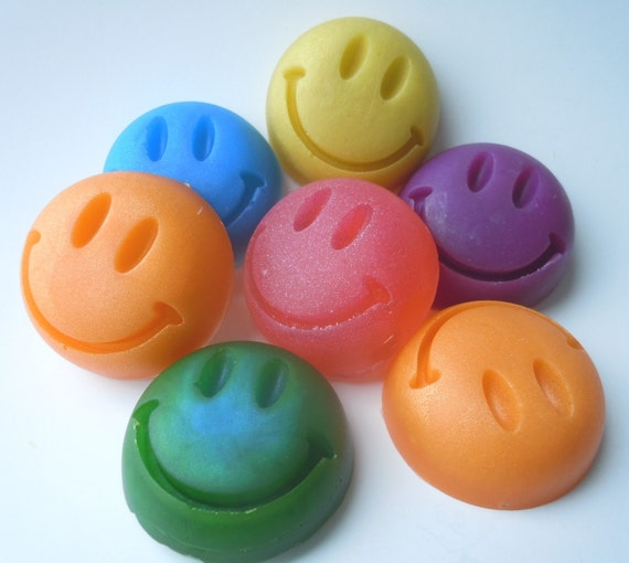 ORGANIC Have a Nice Day Soap - Set of 3 - You Pick Colors & Scents - Vegan smile guest bath decorative