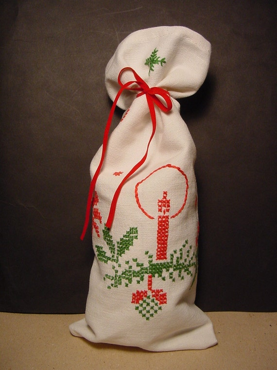 Embroidered Linen Fabric Christmas Gift Bag - Upcycled - Medium Size