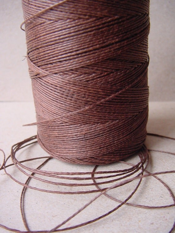Brown Waxed Linen Thread - 40 Yards - 1 mm diameter - Tie, Strap, Band, Rope, Twine