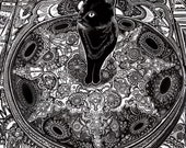 black cat drawing, cat sitting on carpet, cat art