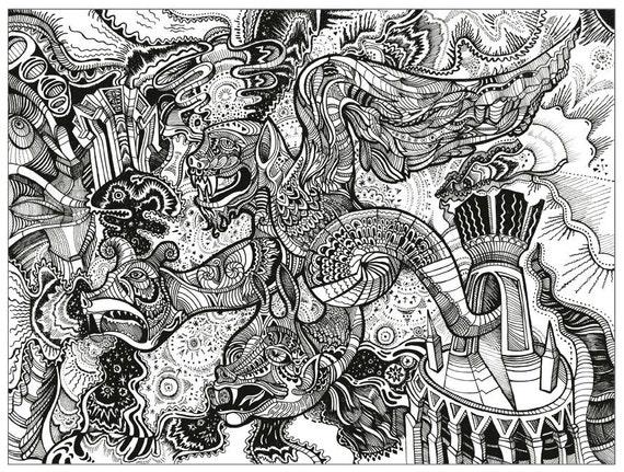 PRINT | Hydra | Three headed dragon | Dragon art drawing