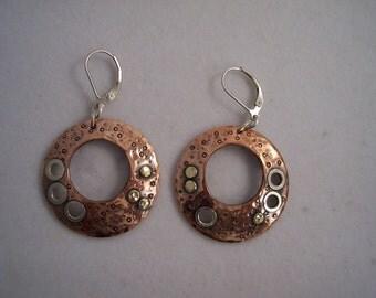 Asymmetrical Mixed metal earrings