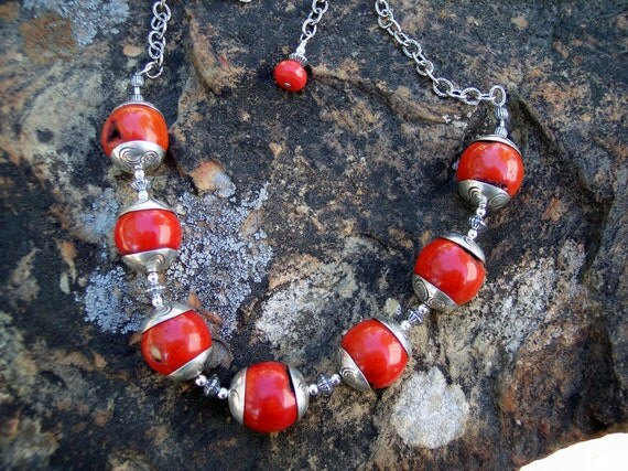 Coral Necklace with hand made & stamped sterling beadcaps