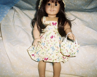 18 inch Doll Clothing, American Girl Doll Clothing, Yellow Sundress with matching Hat and Purse