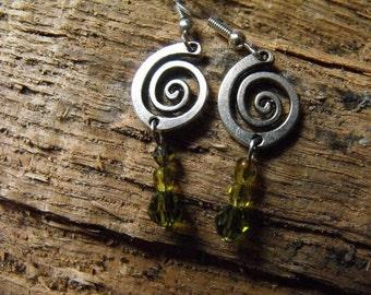 Silver Swirl Earrings with green bead dangles