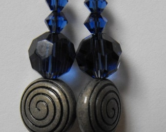 Blue Crystal and Gunmetal Swirl Earrings