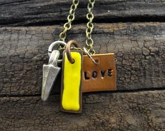 Steampunk Brass Love Necklace