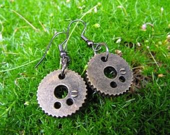 Steampunk Brass Gear Earrings