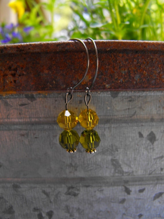 Yellow  & green earrings