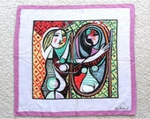 ON SALE / Vintage Picasso Girl Before A Mirror Handkerchief