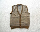 Preppy Brown Chevron Mens Cardigan Vest/Vintage Size XL/Made In Italy by Alpi Maglia