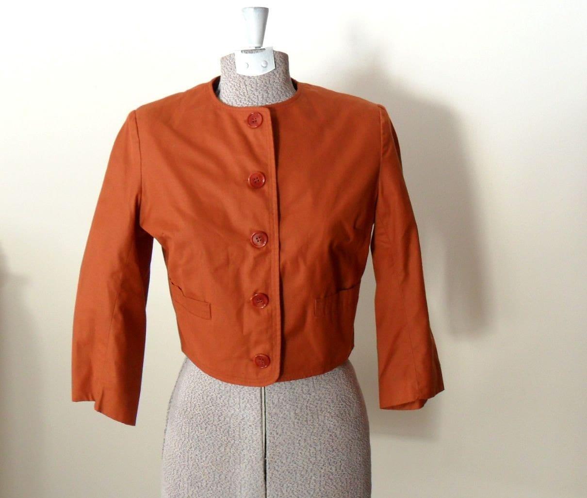 Kelita Cropped Jacket Burnt Orange Brown by BetterWithVintage