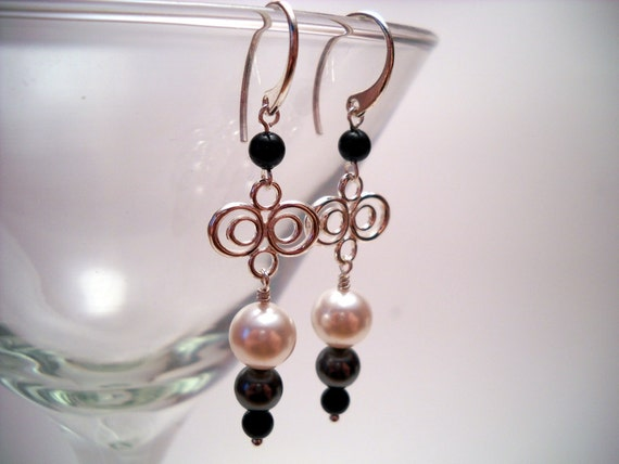 Silver, Black and White Pearl Drop Earrings: When We Escape