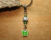 Keychain Charm - Silver with Green Butterfly
