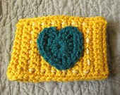 Crochet Coffee Cup Cozy - Gold with Teal Heart and Cream Stitching