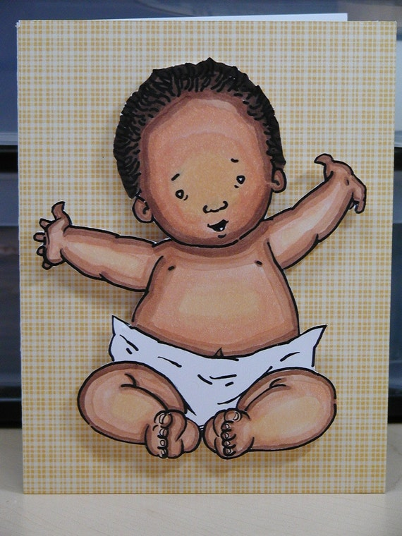 Baby with Open Arms...African Amercian Card