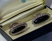 Vintage~ Cuff Links, Strand Brand, Silvertone Rope Edging with Black Stone, Original Box~Faux Onyx