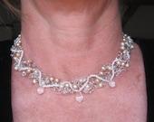 Swarovski Crystal Teardrop-Peach Cultured Pearl Wire Crochet Necklace