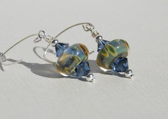 Boro Glass Bead earrings, pale blue multicolor